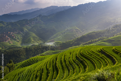 Fotobehang Rijstvelden Beautiful view of the Longsheng Rice Terraces near the of the Dazhai village in the province of Guangxi, China; Concept for travel in China