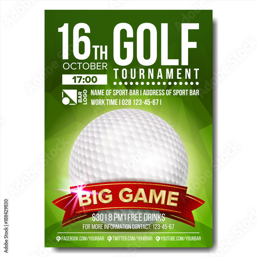 Golf poster vector golf ball vertical design for sport bar golf poster vector golf ball vertical design for sport bar promotion tournament stopboris Choice Image