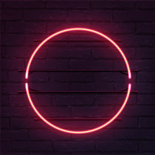Circle Pink Neon Sign. Vector Realistic Neon Circle On Brick Wall.