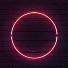Circle Pink Neon Sign. Vector ...