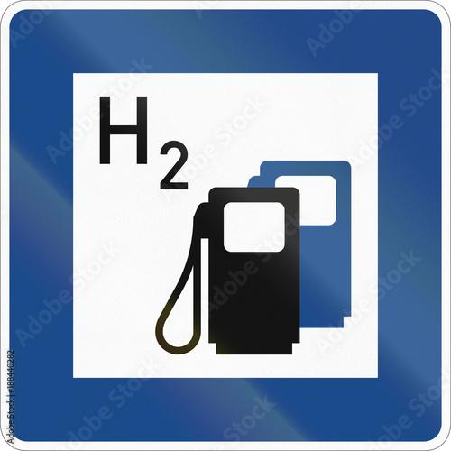 Fotografie, Obraz  German information sign about service - Fuel station with hydrogen
