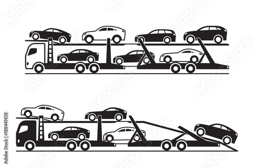 Fotografie, Tablou Car transporter trucks - vector illustration