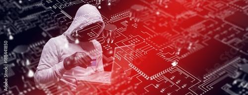 Carta da parati Composite image of hacker using credit card for cyber crime