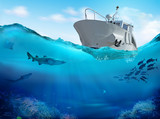 Fishing boat in the sea. 3D illustration