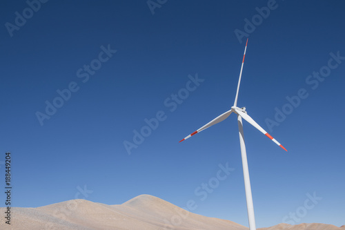 Wind turbine in Atacama Desert near Calama, Antofagasta Region, Chile