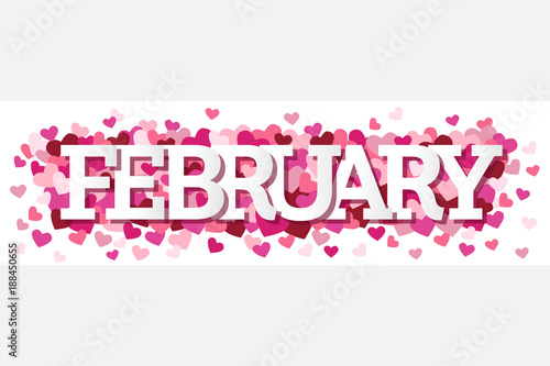 February Single Word With Hearts Banner Vector Illustration 1 - Buy this  stock vector and explore similar vectors at Adobe Stock | Adobe Stock