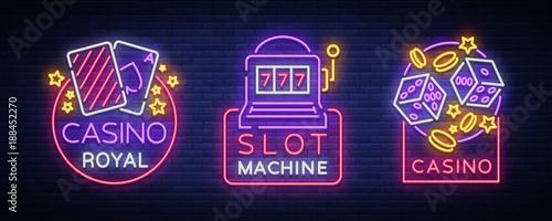 Casino is a set of neon signs Fototapeta