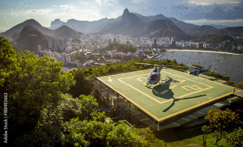 Helipad with helicopter in Rio de Janeiro, Brazil