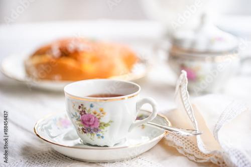 Carta da parati Luxury porcelain tea set with a cup, teapot, sugar bowl