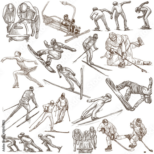 Fotobehang Wintersporten Winter Sport. An hand drawn full sized pack. Hand drawing on white. Line Art