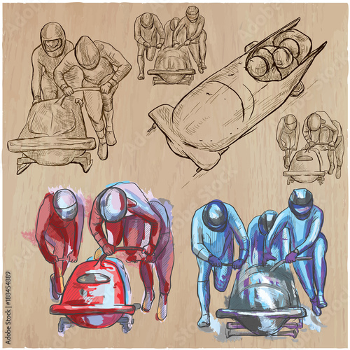 Winter Sport - BOBSLEIGH. An hand drawn vector pack. Fototapete