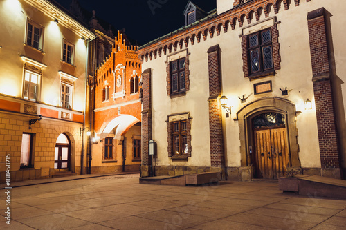 Fototapeta Czartoryski Museum in old town of Krakow at night, Poland obraz