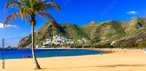 Deurstickers Canarische Eilanden Beaches of Tenerife- Las Teresitas with scenic San Andres village