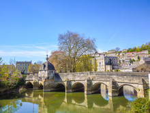 Historic Saxon Village View Of Bradford On Avon Including The Famous Stone Bridge And Ancient British Houses In The Town.