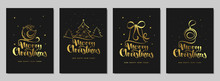 Merry Christmas And Happy New Year Set Greeting Card. Handwritten Lettering With A Stylized Christmas Tree, Bell, Bird And Ball. Black Gold Design