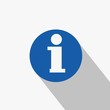 info symbol for information vector icon in blue circle and flat shadow
