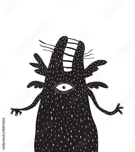 Fotomural Crazy black creature psychodelic design. Vector illustration.