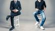Leinwandbild Motiv スーツと私服の男性 サラリーマンとフリーランサー
