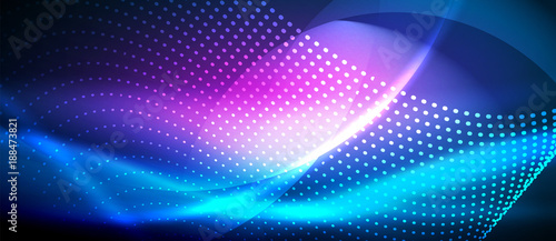 Photo  Neon smooth wave digital abstract background