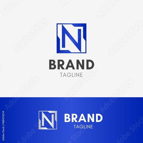 Letter N Square Logo Template Element Symbol In Blue Color Buy