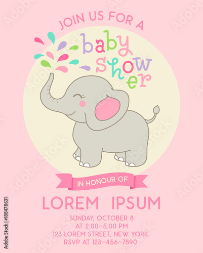 Cute Elephant Illustration For Girl Baby Shower Card Template Buy