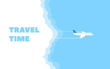 Cartoon Banner Of The Flying Plane And Cloud On Blue Sky Background. Concept Design Template Of Time To Travel.