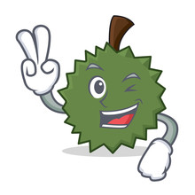 Two Finger Durian Character Cartoon Style