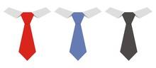 Three Necktie, Vector Icon, Fa...