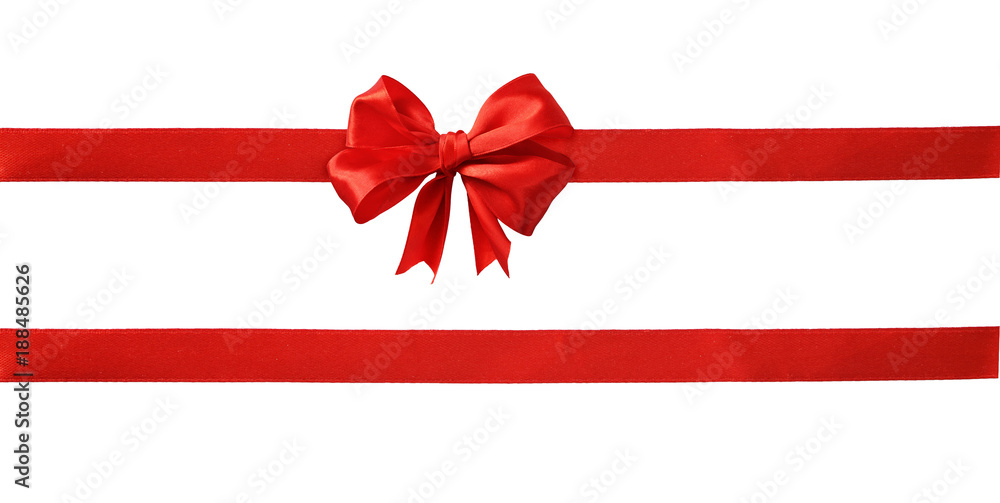 Fototapety, obrazy: Red silk ribbons and a bow