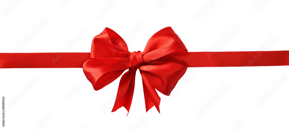 Fototapeta Red silk ribbon and a big bow
