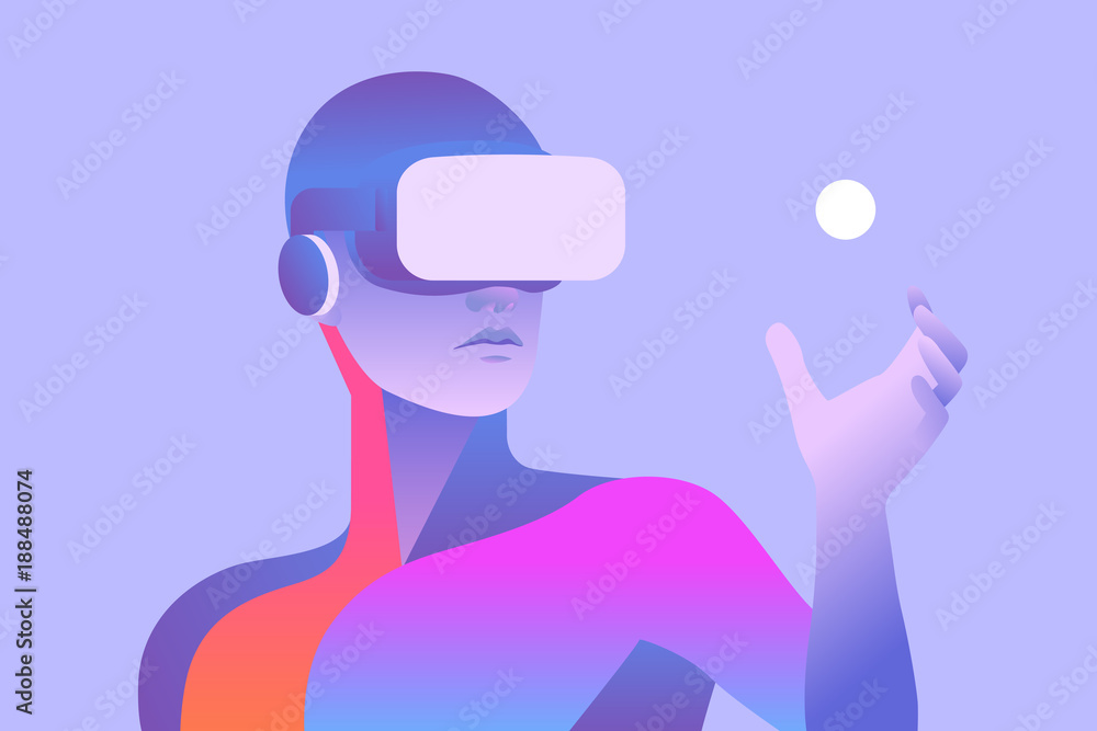 Fototapeta Man wearing virtual reality headset and looking at abstract sphere