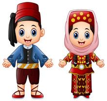 Cartoon Turkish Couple Wearing...
