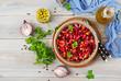 Beet Salad - Vinaigrette. Vegan cuisine. Dietary menu. Top view.