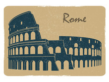Vintage Rome Coliseum Logo Emb...