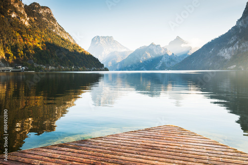 Photo Stands Lake Beautiful Traunsee lake in Austrian Alps