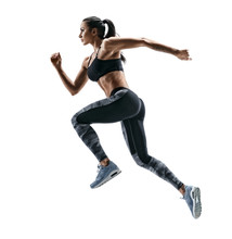 Woman Runner In Silhouette On White Background. Dynamic Movement. Side View. Sport And Healthy Lifestyle