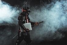 Side View Of Samurai In Tradit...