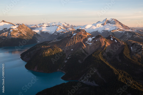 Aerial view of the beautiful Canadian Landscape during a vibrant sunset. Taken Garibaldi Lake, North of Vancouver, British Columbia, Canada. #188501655
