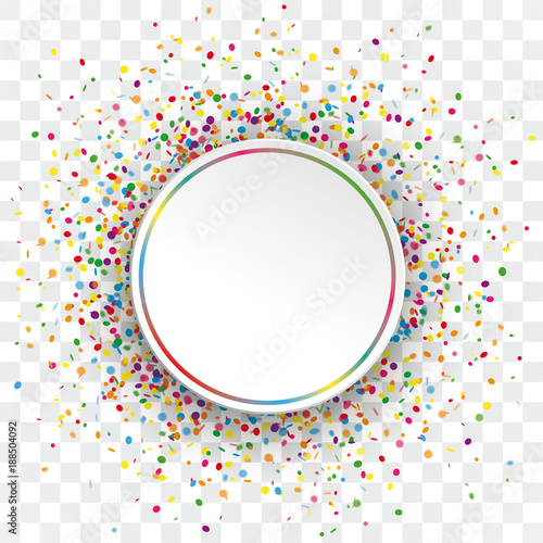 Obraz White Paper Colorful Circle Confetti Transparent - fototapety do salonu
