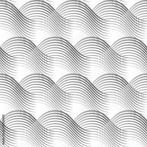 Geometrical Seamless Pattern Black Waves On White Available