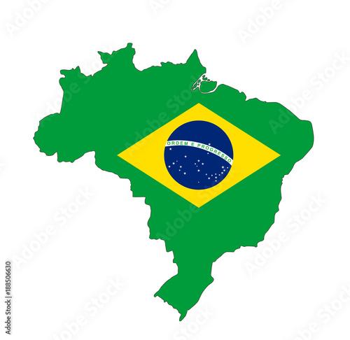 Fototapeta ブラジル地図と国旗