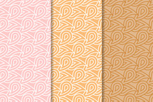 Geometric Backgrounds. Orange Seamless Wallpapers. Colored Set