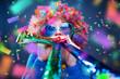 canvas print picture - Frau in Karnevalstimmung