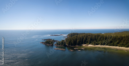 Spoed Foto op Canvas Kust Aerial panoramic view of the beautiful Pacific Ocean Coast during a vibrant sunny summer day. Taken near Tofino, Vancouver Island, British Columbia, Canada.