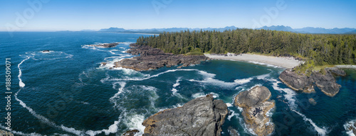 Cote Aerial panoramic view of the beautiful Pacific Ocean Coast during a vibrant sunny summer day. Taken near Tofino, Vancouver Island, British Columbia, Canada.