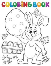 Coloring Book Easter Rabbit Th...