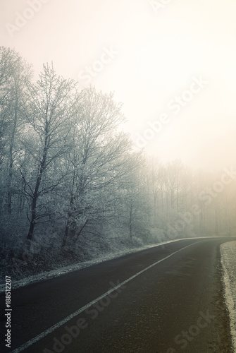 Fototapety, obrazy: Frosty winter morning road in Hungary
