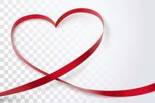 Red Heart Ribbon Isolated On Transparent Background.