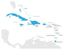 Political Map Of Carribean. Bl...