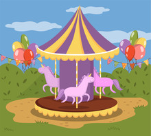 Colorful Carousel With Horses,...